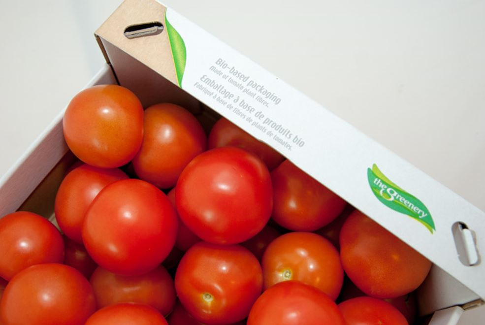 An example: Tomato stems utilised in the production of a cardboard box in which the tomatoes are packed.